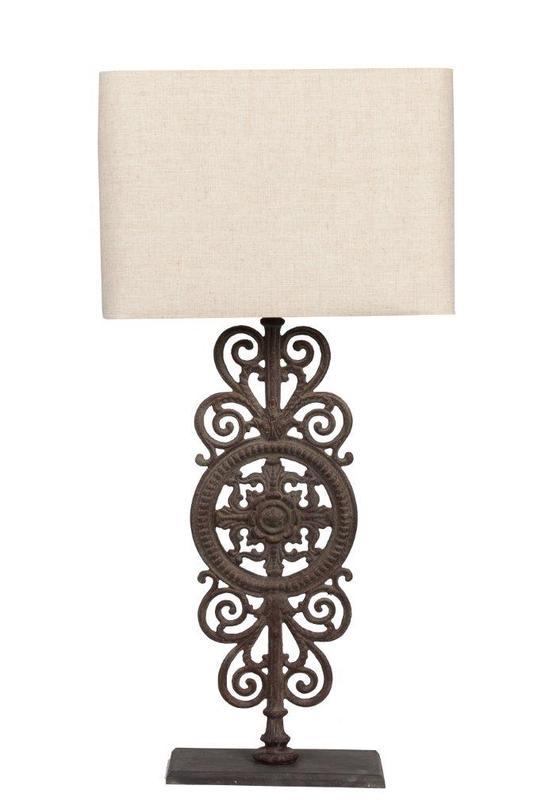 Настольная лампа Parisian Iron GateДекоративные лампы<br>Материал: железо, тканевый абажур<br>Цвет: Золотой<br>Максимально допустимая мощность 40 w, цоколь 2,5 см<br><br>Material: Железо<br>Width см: 43<br>Height см: 90