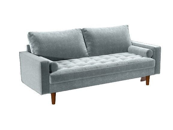 Bradexhome диван трехместный scott голубой 130967/4