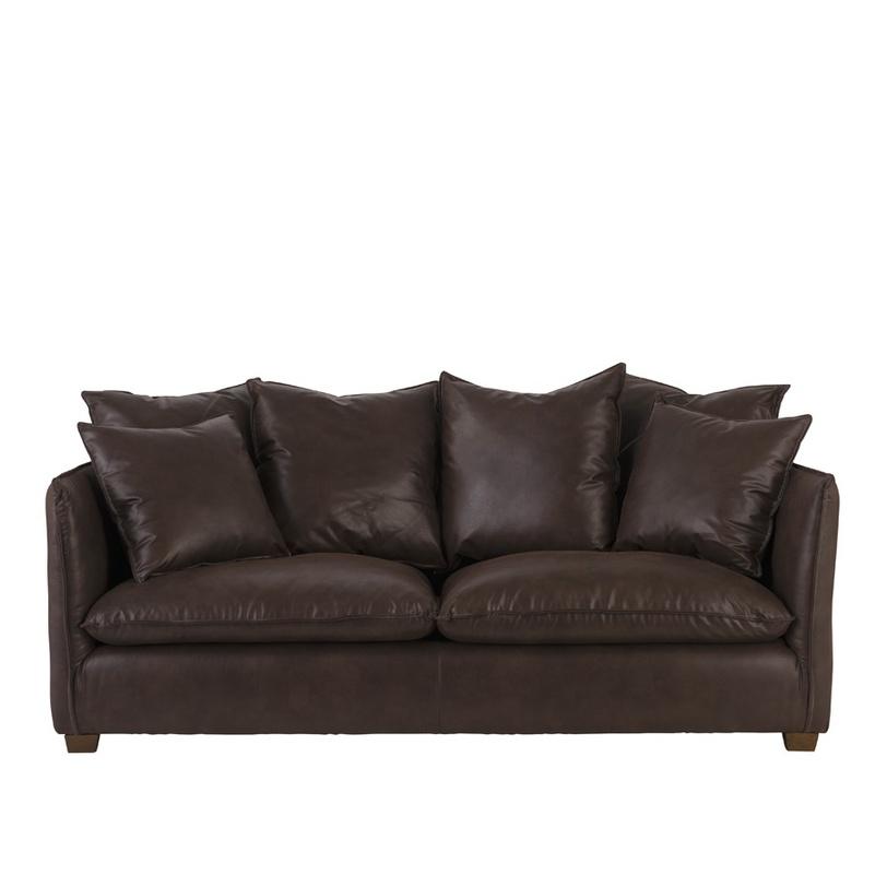 Диван CumberlandКожаные диваны<br>Диван от компании Teak House из натуральной кожи темно-коричневого простого лаконичного дизайна оснащен множеством подушек. Диван отлично впишется в современный лофт-интерьер дома или в рабочем кабинете.<br><br>Material: Кожа<br>Length см: None<br>Width см: 215.0<br>Depth см: 100.0<br>Height см: 102.0<br>Diameter см: None