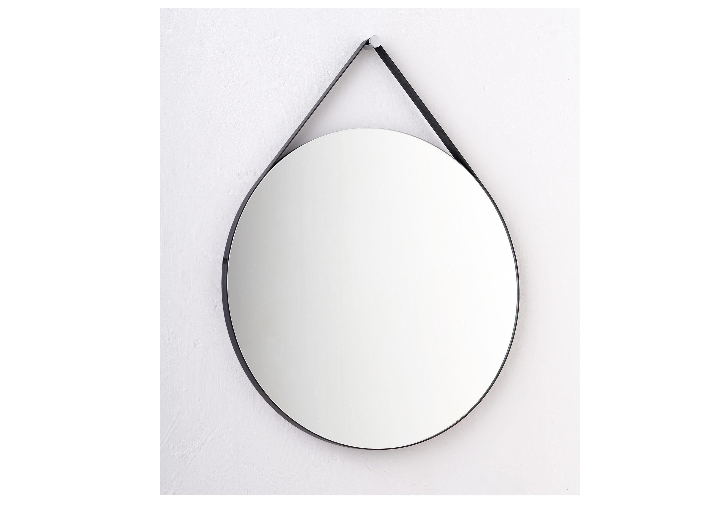 Круглое зеркало на ремне (banska) черный 53x68x2.4 см.