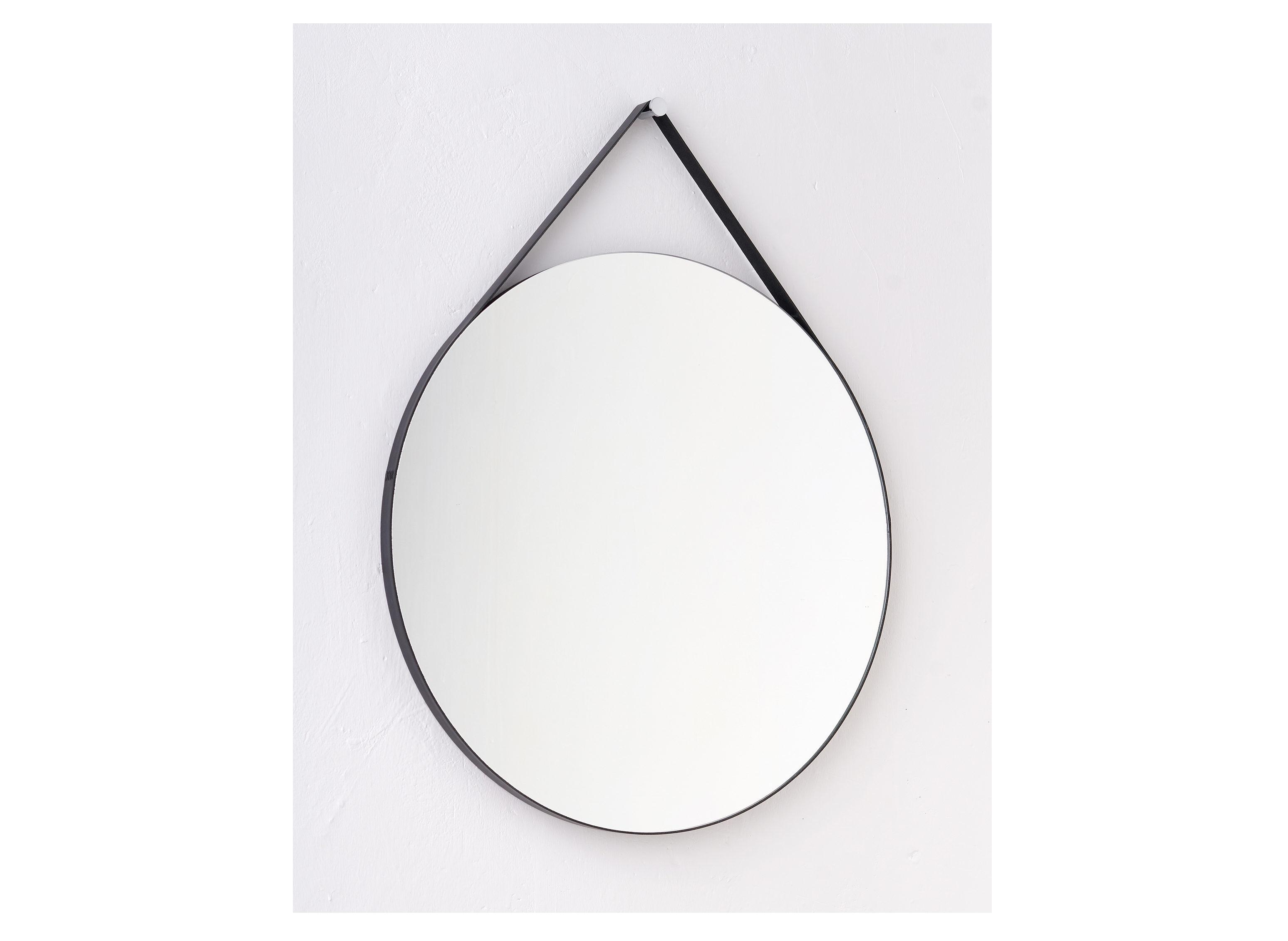 Круглое зеркало на ремне (banska) черный 62x76x2.4 см.