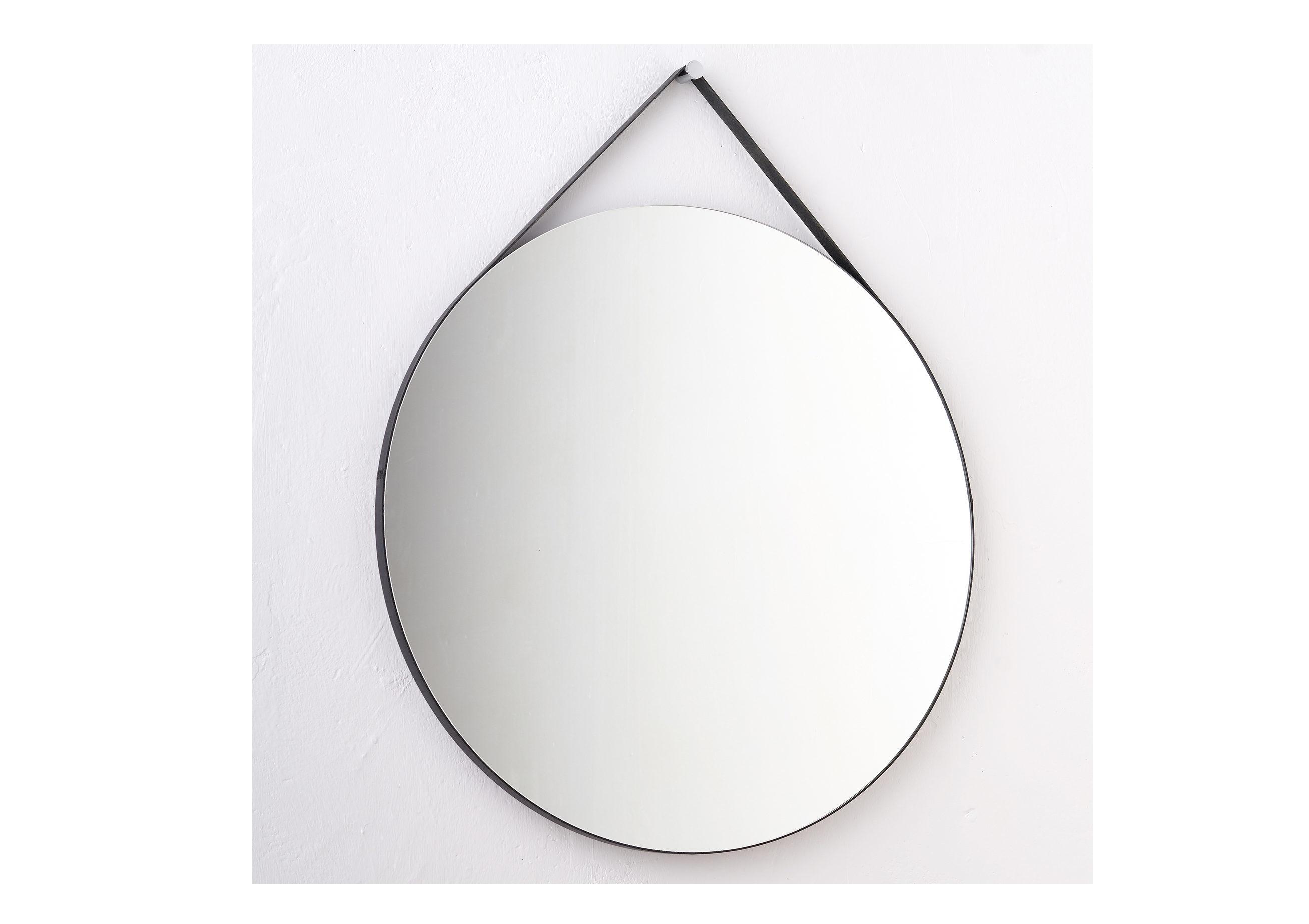 Круглое зеркало на ремне (banska) черный 70x87x2.4 см.