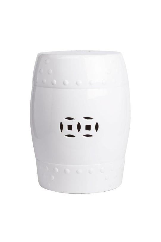 Керамический столик-табурет Garden Stool WhiteКофейные столики<br>Столик-табурет от молодого американского бренда DG Home по форме напоминает старинный африканский барабан. Несмотря на этнические мотивы, Garden Stool будет отлично смотреться в различных интерьерах. Глянцевая поверхность и белый цвет подойдут и к скандинавскому, и к современному стилю.<br><br>Material: Керамика<br>Height см: 45.72<br>Diameter см: 33.02