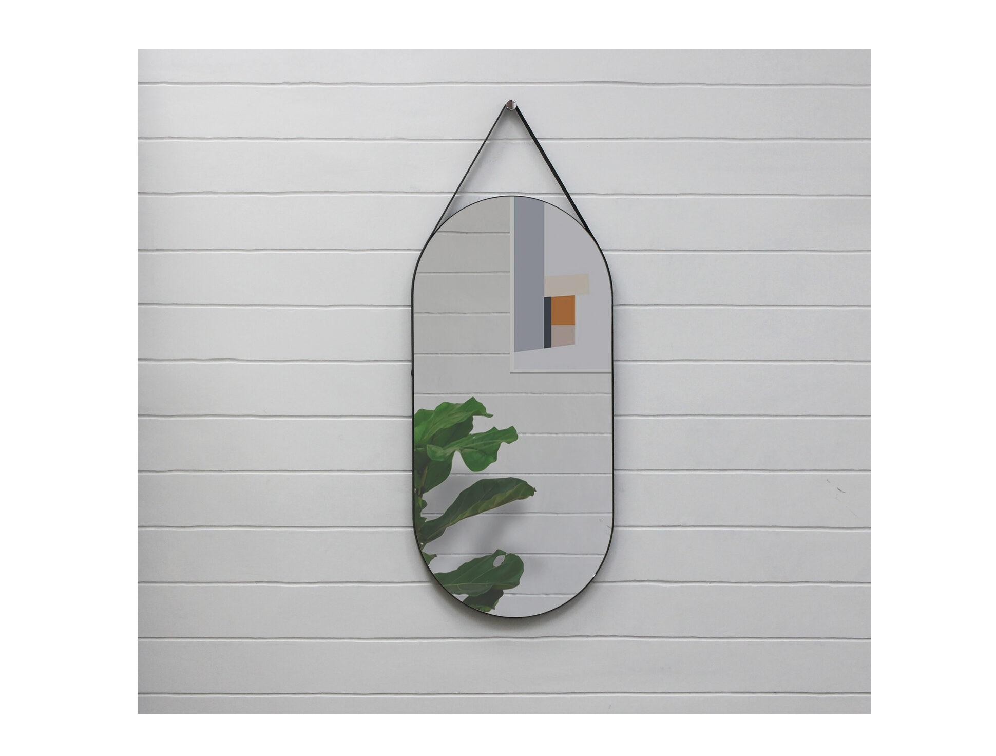Овальное зеркало на ремне banska gralta (banska) черный 40x83x3 см.