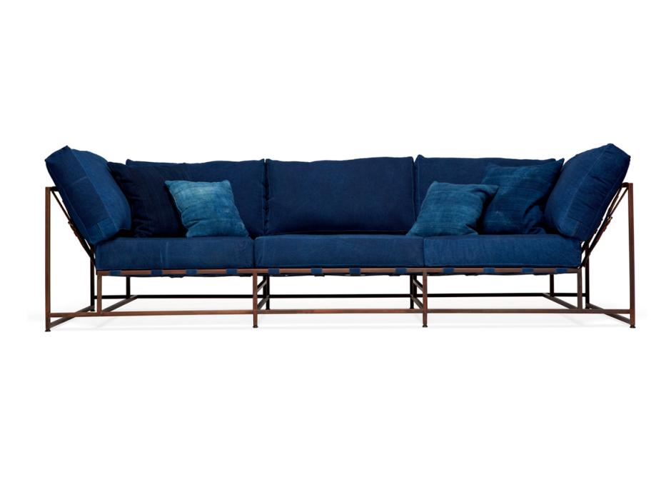 The_sofa трехместный диван дэним синий 134331/9