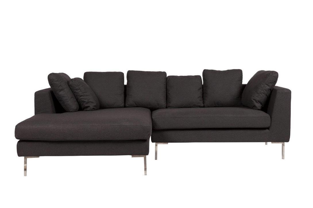 Диван Charles Large SofaУгловые диваны<br>Большой и роскошный диван-уголок Charles Large Sofa непременно украсит вашу гостиную, привнесет в нее уют, комфорт и шик и добавит яркости и изысканности. Темно-серая обивка, мягкие подушки и стальные ножки делают предмет мебели не только прочным и долговечным, но и неимоверно стильным. На таком диване можно приятно проводить время в компании близких людей или в кругу семьи.<br>Цвет: Темно-серый<br><br>Material: Текстиль<br>Length см: 243.0<br>Width см: 160.0<br>Height см: 69.0