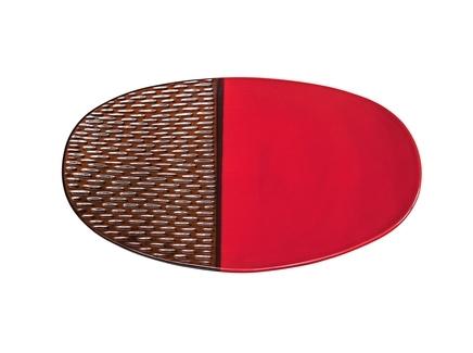 Блюдо декоративное (farol) красный 48.0x6.0x29 см.