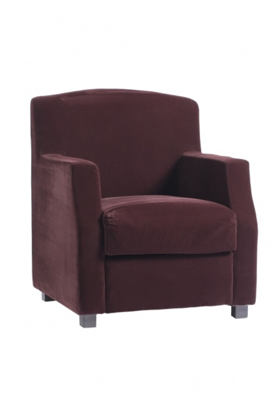 Кресло LloydИнтерьерные кресла<br>Стильное и эффектное кресло, выполненное в стиле арт деко 60-х, завораживает простотой форм и повторяющимся геометрическим мотивом. Надежным основанием и одновременно удобными подлокотниками служат две прямоугольные рамы, к которым крепятся мягкое квадратное сидение и прямоугольная спинка. Черно-белое цветовое решение усиливает произведенный эффект. Это кресло станет удачным дополнением любого интерьера, как классического, так и современного.<br><br>Цвет: баклажановый<br><br>Material: Текстиль<br>Length см: 65<br>Width см: 70<br>Height см: 82