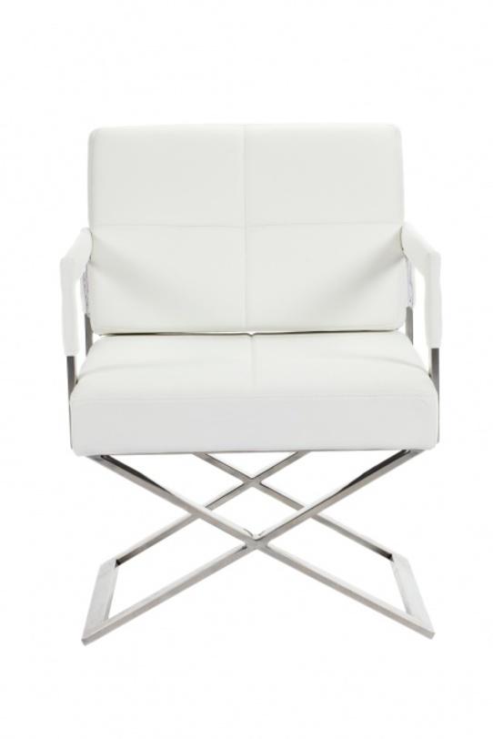 Кресло Aster X ChairКожаные кресла<br>Эффектное классическое кресло на крестообразной опоре, навевает воспоминания о Феллини, Антониони, Бертолуччи и других известных режиссерах «новой волны». Эта роскошная модель с ярко-белой обивкой и стальной отделкой великолепно впишется в интерьер гостиной или комнаты отдыха, свидетельствуя о безупречном вкусе своего владельца.<br><br>Material: Кожа<br>Length см: 55<br>Width см: 66<br>Height см: 89
