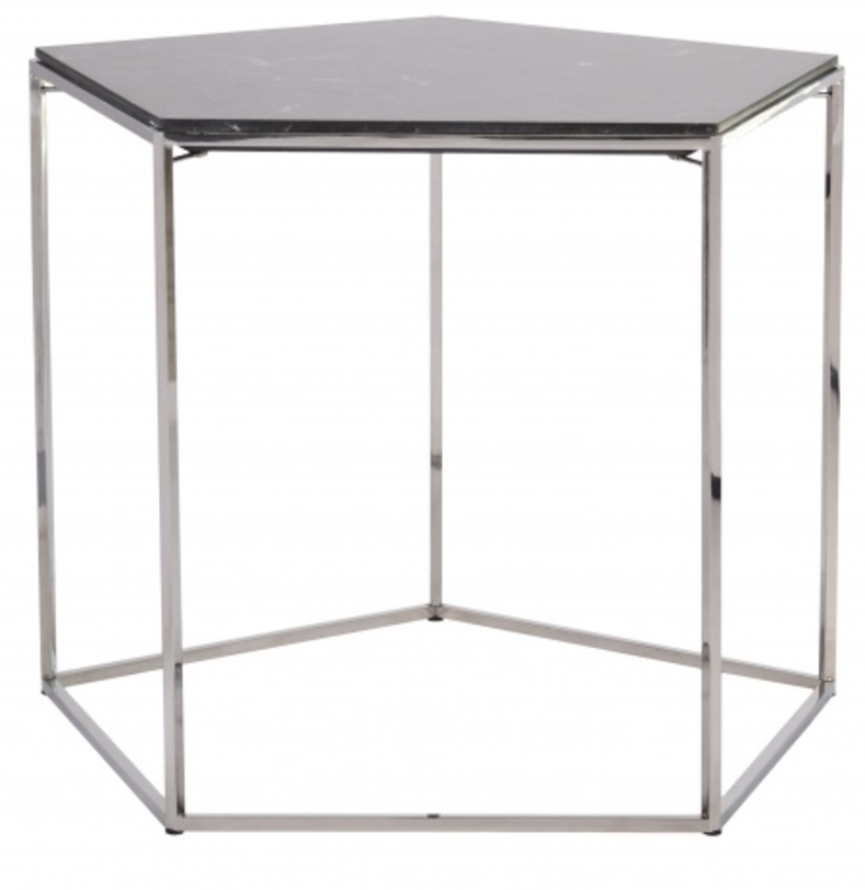 Кофейный столик StoneКофейные столики<br>Оригинальный кофейный столик в виде пятигранника станет удачным приобретением для ценителей кофе. Столешница из натурального мрамора черного цвета опирается на легкое металлическое основание. Несмотря на миниатюрные размеры столика, за ним могут с удобством расположиться несколько человек, а интересный дизайн изделия украсит собой любой интерьер.<br><br>Material: Металл<br>Length см: None<br>Width см: None<br>Depth см: None<br>Height см: 50.0<br>Diameter см: 64.5