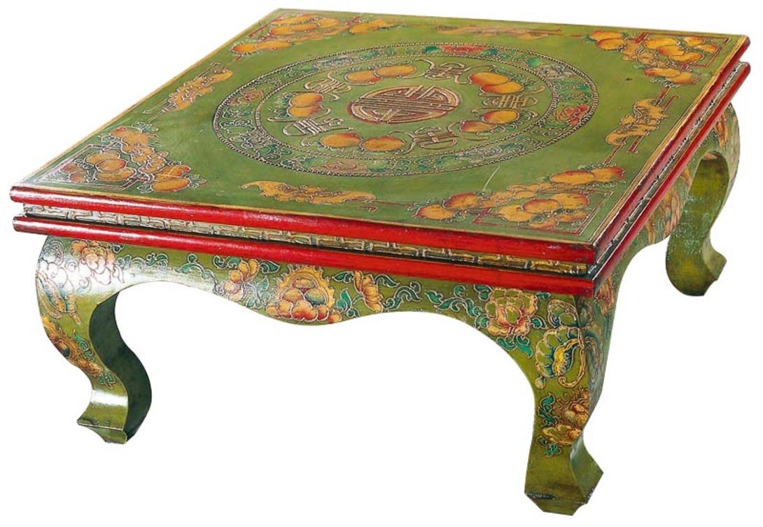 Столик Кан-чжоЖурнальные столики<br>Столик расписан тибетскими мотивами. Оригинальный, будто произведения искусства, будет прекрасно смотреться в современном интерьере как арт-объект. Яркая окраска и мотивы, которые призваны нести только счастье своему владельцу, не оставит никого равнодушным.<br><br>Материал: тополь, вяз, береза (в зависимости от партии)<br><br>Material: Дерево<br>Ширина см: 70<br>Высота см: 37<br>Глубина см: 70