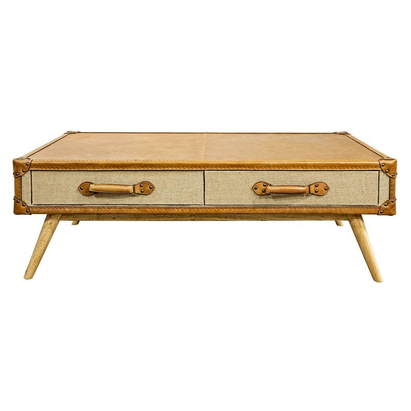 Кофейный столик PantonКофейные столики<br>Оригинальный кофейный столик в модном эко-стиле полностью выполнен из натуральных материалов, основу которых составляет кожа высокого качества в приятном бежевом оттенке. Красоту и фактуру столика подчеркивают металлическая фурнитура и грубая ткань.&amp;lt;div&amp;gt;&amp;lt;br&amp;gt;&amp;lt;/div&amp;gt;&amp;lt;div&amp;gt;Материал: Дерево, кожа, джутовая ткань.&amp;lt;/div&amp;gt;<br><br>Material: Кожа<br>Length см: 136.0<br>Width см: 80.0<br>Depth см: None<br>Height см: 45.0<br>Diameter см: None