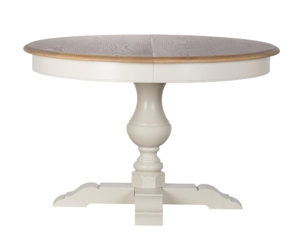 Стол раскладнойОбеденные столы<br>Материал: cтолешница - МДФ дубовый шпон; ножки - массив липы<br>Длина в разложенном виде 170 см<br>Цвет: белый<br><br>Material: Дерево<br>Height см: 78<br>Diameter см: 120