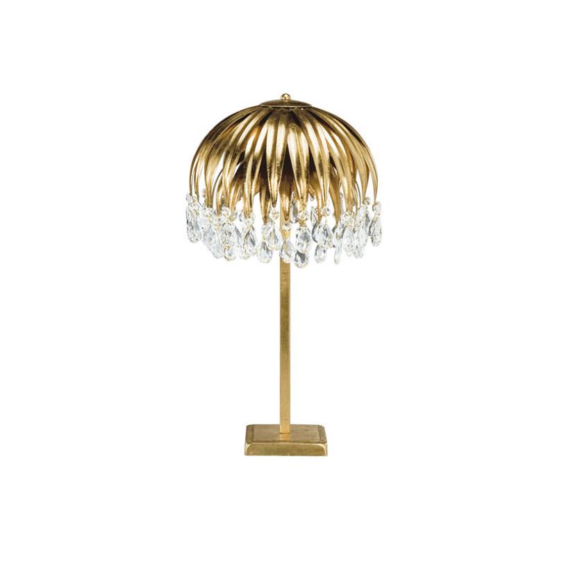 Настольная лампаДекоративные лампы<br>Настольная лампа из металла золотого цвета. Светильник выполнен в виде цветка с ниспадающими лепестками. Хрустальные прозрачные подвески на конце лепестков. Дизайн: Karen Lenz.<br><br>Цвет: Золотой<br>Количество лампочек: 3<br>Мощность: 3 x 20 Вт<br>Тип лампы: Галогенные, G9<br><br>Material: Металл<br>Height см: 50<br>Diameter см: 28