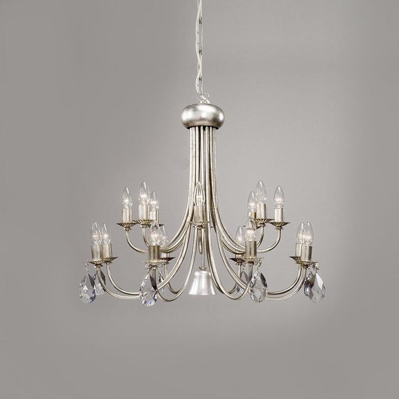 ЛюстраЛюстры подвесные<br>Металлическая арматура люстры серебряного цвета. Украшена прозрачными хрустальными подвесками Swarovski. Дизайн ламп выполнен в виде свечей в подсвечниках. Высоту светильника можно регулировать за счет звеньев цепи. Дизайн: Karen Lenz.<br><br>Количество лампочек: 16+1<br>Мощность: 16+1 x 40+40 Вт<br>Тип лампы: E14<br><br>Material: Металл<br>Высота см: 65