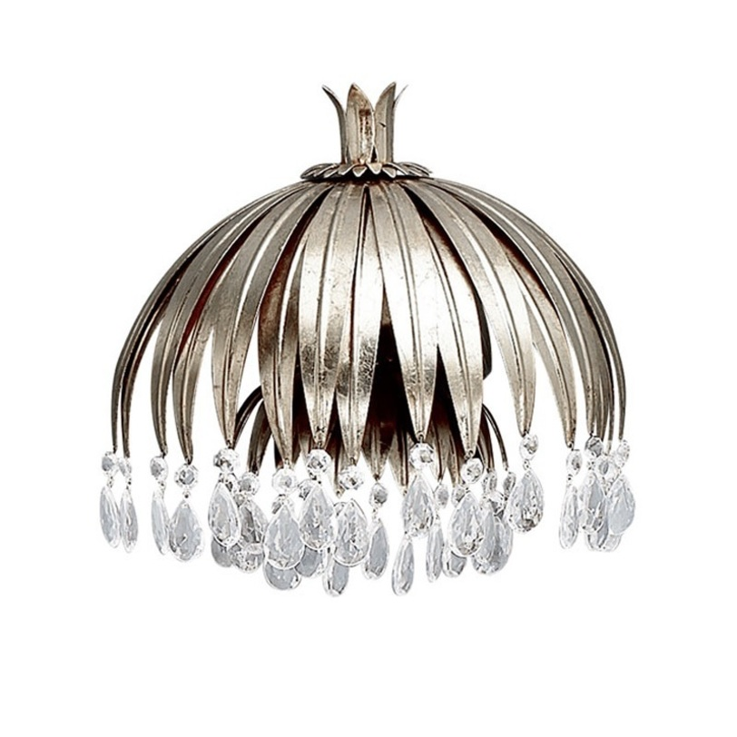 БраБра<br>Бра из металла серебряного цвета. Светильник выполнен в виде цветка с ниспадающими лепестками. Хрустальные прозрачные подвески на конце лепестков. Дизайн: Karen Lenz.<br><br>Количество лампочек: 2<br>Мощность: 2 x 42 Вт<br>Тип лампы: E14<br><br>Material: Металл<br>Width см: 50.0<br>Depth см: 26.0<br>Height см: 45.0