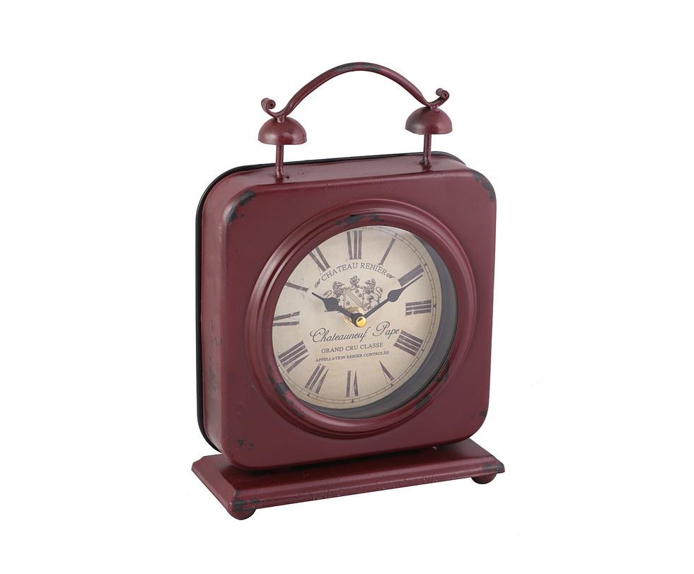 ЧасыНастольные часы<br>Настольные часы в винтажном французском стиле. Классический квадратный каркас бордового оттенка c легкими потертостями украшен циферблатом, напоминающим этикетку винной бутылки.<br><br>Material: Металл<br>Length см: None<br>Width см: 20<br>Depth см: 6<br>Height см: 27<br>Diameter см: None