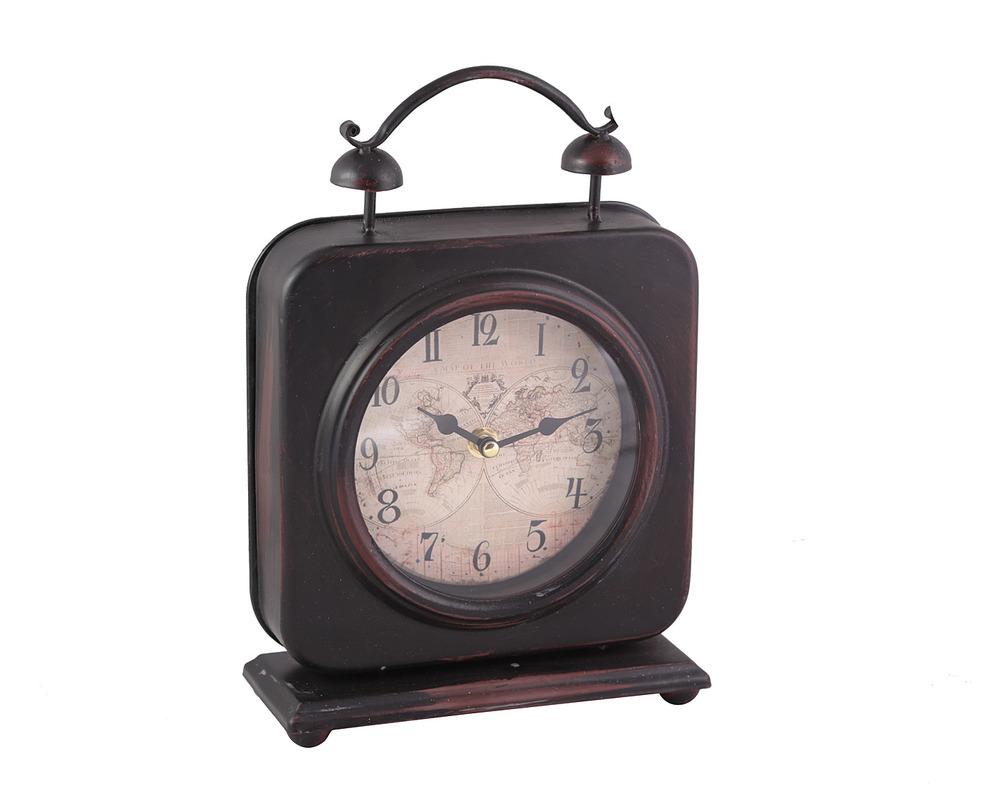 ЧасыНастольные часы<br>Настольные часы в винтажном стиле оценят по достоинству заядлые путешественники и любители аутентичных предметов. Темный потертый каркас украшен циферблатом с изображением старинной карты мира.<br><br>Material: Металл<br>Length см: None<br>Width см: 20<br>Depth см: 6<br>Height см: 27<br>Diameter см: None