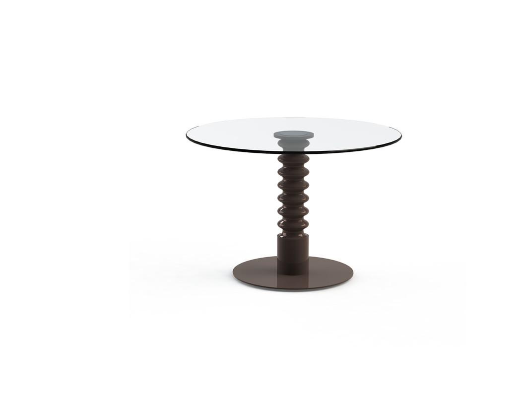 Стол Pilmer ChocoВинные, коктейльные столики<br>Оригинальный кофейный столик с круглой столешницей из закаленного стекла и деревянным основанием в форме промышленной детали соответствующего цвета дополнит интерьер в стиле лофт.<br><br>Цвет: шоколадный<br>Срок изготовления: 2-3 недели<br>Размер столешницы: диаметр 800 мм; толщина 10 мм<br>Мы можем предложить любой вариант столешницы в меньшую сторону d700,d600 и т.д.<br><br>Material: Стекло<br>Length см: None<br>Width см: None<br>Depth см: None<br>Height см: 75<br>Diameter см: 80