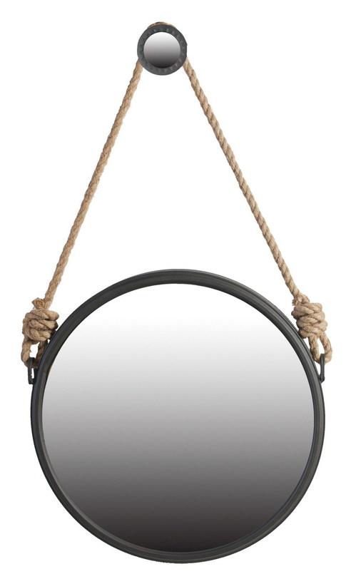 Зеркало настенноеНастенные зеркала<br>Зеркало настенное с патиной на подвесе. Рама металлическая черная &amp;quot;под старину&amp;quot;.<br><br>Материал: металл, зеркало<br><br>Material: Металл<br>Length см: None<br>Width см: None<br>Depth см: None<br>Height см: None<br>Diameter см: 50