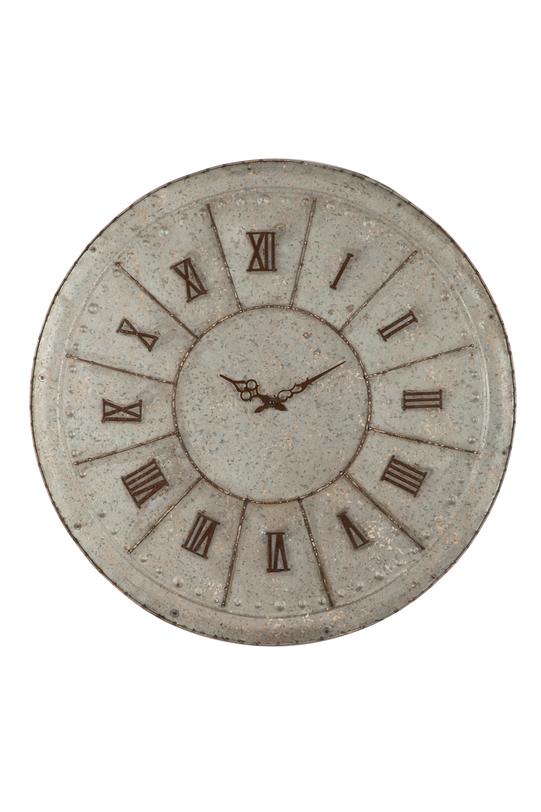 Часы настенныеНастенные часы<br>Часы настенные металлические, цвет серый<br>Материал - металл оцинкованный<br><br>Material: Металл<br>Length см: None<br>Width см: None<br>Depth см: None<br>Height см: None<br>Diameter см: 99