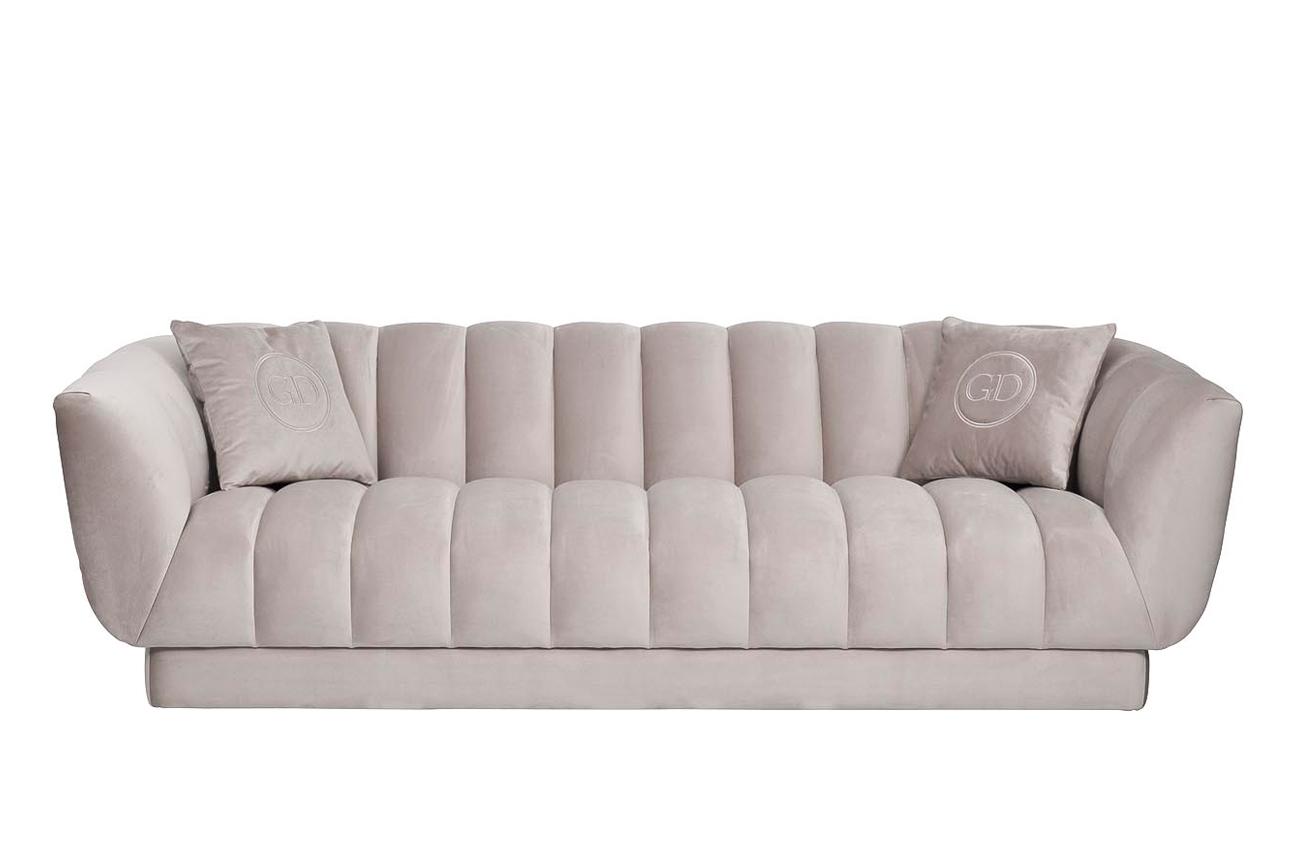 Garda decor диван fabio трехместный велюровый бежевый бежевый 143723/143782
