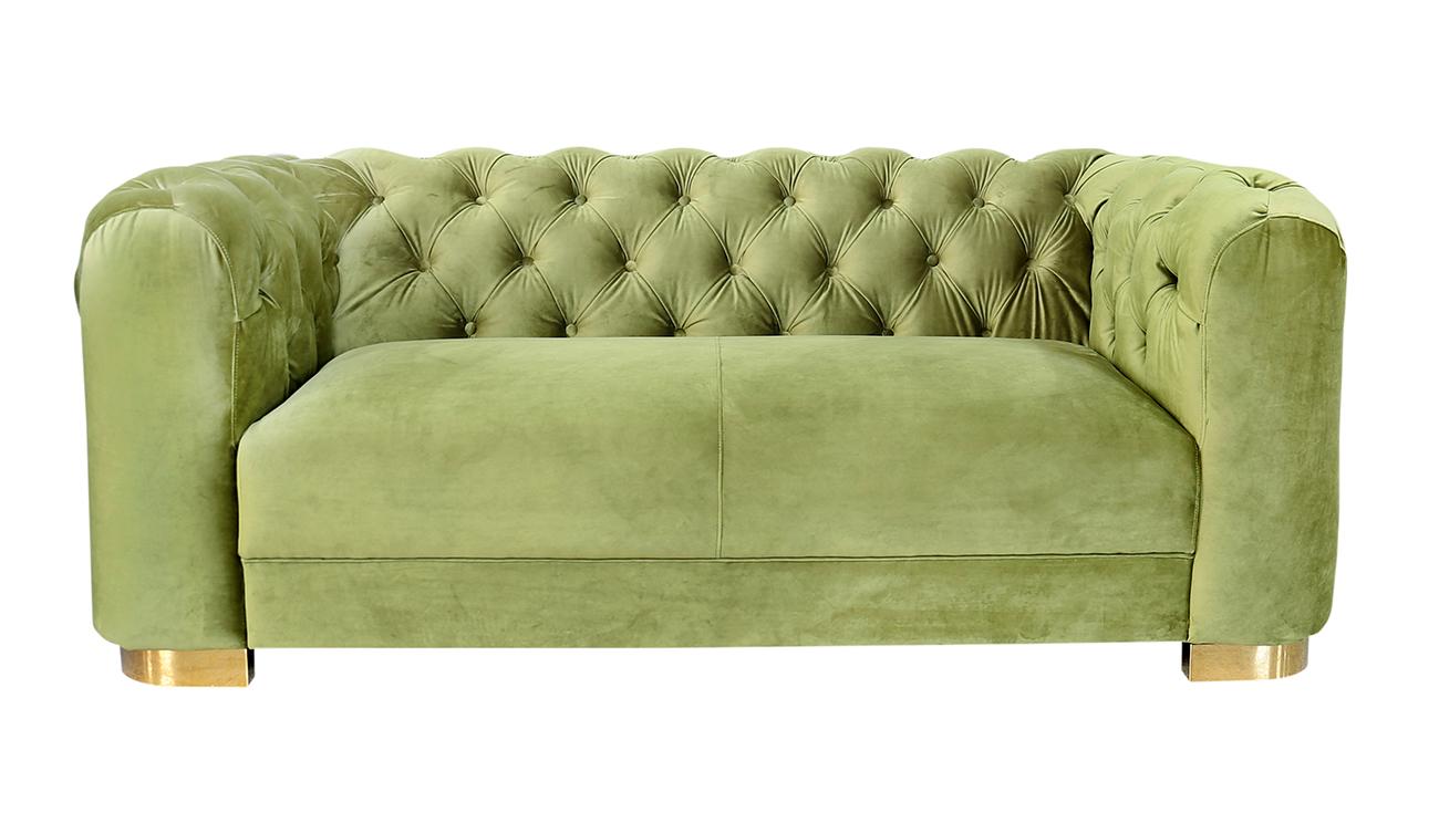 Garda decor диван двухместный велюровый оливковый зеленый 143730/3