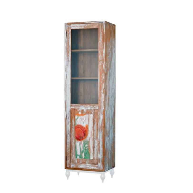 Шкаф Touch TulipПосудные шкафы<br>Шкаф из тика в оригинальной отделке, украсит вашу гостиную и станет фокусной точкой вашего дома. Возможны два варианта отделки hibiscus и tulip. Ноги белого или черного цвета.<br><br>Material: Тик<br>Length см: None<br>Width см: 60<br>Depth см: 45<br>Height см: 220<br>Diameter см: None