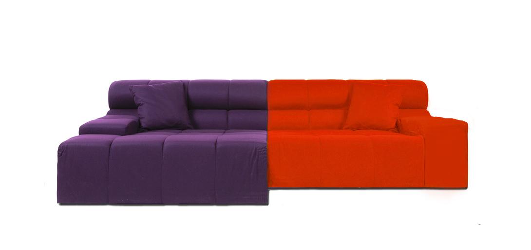 Диван Tufty-Time Sofa Orange-VioletТрехместные диваны<br>&amp;lt;div&amp;gt;Tufty-Time Sofa Orange-Violet, словно бросает вызов всему симметричному и пропорциональному. Модель от DG-Home состоит из двух модулей, различных по ширине и цвету. Два элемента можно использовать совместно, в виде радужной композиции. Также есть возможность «разделить» секции и расставить их по своему вкусу. Сочная цветовая палитра привнесет в пространство немного экспрессии. Обивка угловой части отделана оранжевой тканью. Широкий блок представлен в фиолетовом варианте. Такая красочная модель отлично будет смотреться в яркой детской комнате или эклектичной гостиной.&amp;amp;nbsp;&amp;lt;br&amp;gt;&amp;lt;/div&amp;gt;&amp;lt;div&amp;gt;&amp;lt;br&amp;gt;&amp;lt;/div&amp;gt;Материал: ткань, поролон, деревянное основание, ножки из нержавеющей стали<br><br>Material: Текстиль<br>Length см: 286<br>Width см: None<br>Depth см: 145<br>Height см: 76<br>Diameter см: None