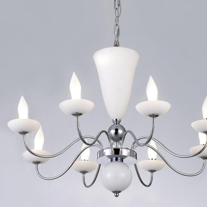 Люстра ST LuceЛюстры подвесные<br>Люстра 10-ти рожковая из коллекции ST Luce на хромированной арматуре. Дизайн ламп выполнен в виде свечей в подсвечниках. Декор: стеклянные чашечки, ваза и шар белого цвета на арматуре. Высота светильника регулируется.<br><br>Количество лампочек: 10<br>Мощность: 10 x 40 Вт<br>Тип лампы: G9<br><br>Material: Стекло<br>Length см: None<br>Width см: None<br>Depth см: None<br>Height см: 130<br>Diameter см: 72