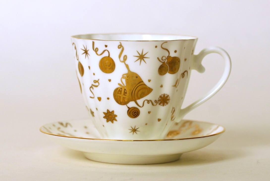 Чайная Чашка с блюдцем Гвоздика Веселый праздник