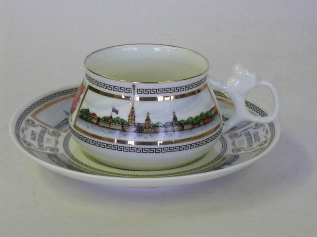 Чайная Чашка с блюдцем Билибина Невские берега