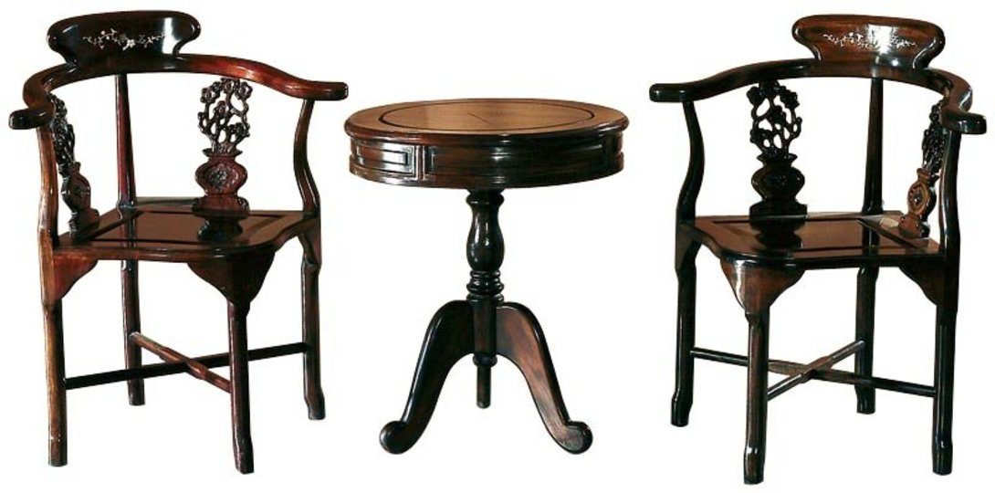 Комплект мебели Юань-чжо-ке-иКомплекты мебели<br>Юань-чжо-ке-и комплект для настольной игры. Династии Цин и Мин.<br>Эти кресла являются ярким воплощением китайской культуры – своеобразные подлокотники являются продолжением спинки, что обеспечивает максимальный комфорт при сидении. Именно за такую форму спинки и подлокотников, напоминающую лошадиную подкову, кресло получило название «цзяои». Ножки соединены крест-накрест при помощи нагеля. Боковые элементы украшены цветочной резьбой для дополнительной прочности.<br><br>Материал: тополь, вязь, береза<br>Цвет: натуральное дерево, покрытое лаком<br><br>Material: Дерево<br>Length см: None<br>Width см: None<br>Depth см: None<br>Height см: 65<br>Diameter см: 55