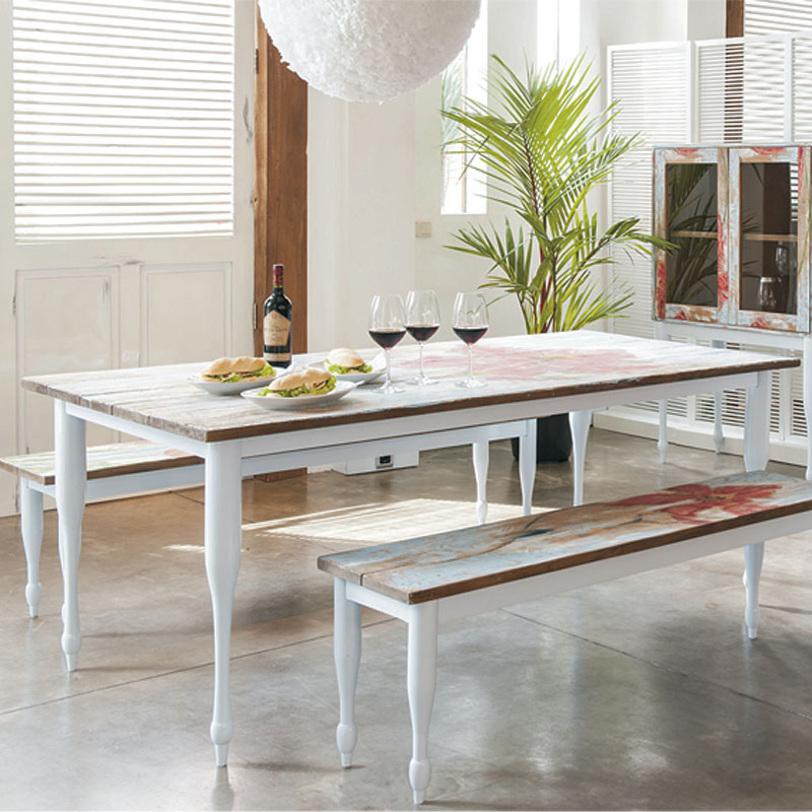 Стол обеденный Touch TulipОбеденные столы<br>Стол обеденный из массива тика в оригинальной отделке. Столешница выполнена в белом цвете с изображением тюльпана. Изящной формы ноги могут быть окрашены в белый или черный цвет.<br><br>Material: Тик<br>Length см: 200<br>Width см: 90<br>Depth см: None<br>Height см: 78<br>Diameter см: None