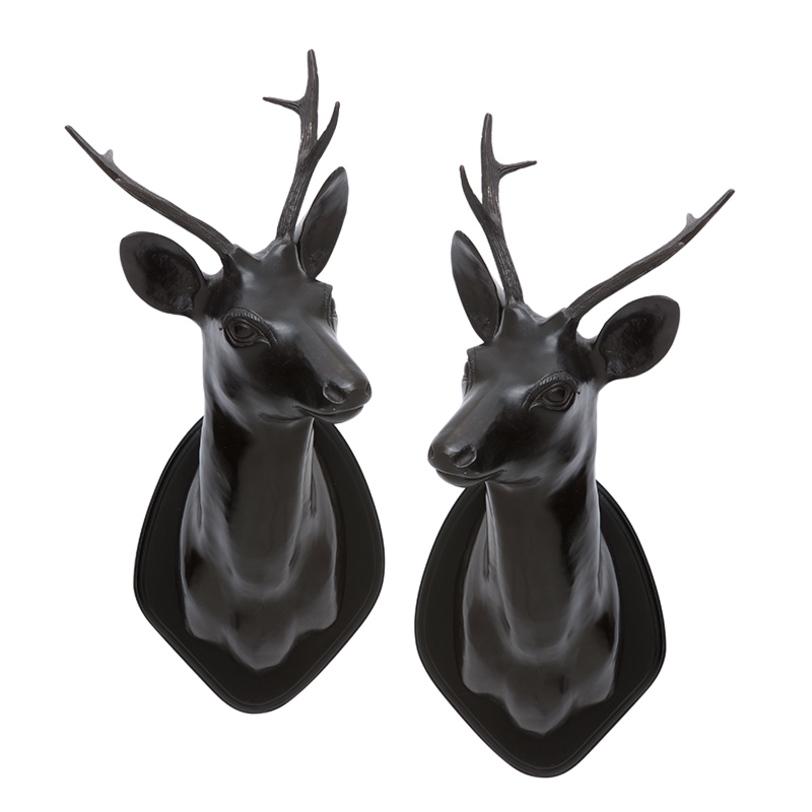Аксессуар STAG HEADФигуры<br>Декоративные настенные головы оленей Stag Head из металла состаренного коричневого цвета. Деревянное основание. Комплект из 2 предметов.<br><br>Material: Металл<br>Ширина см: 30.0<br>Высота см: 54.0