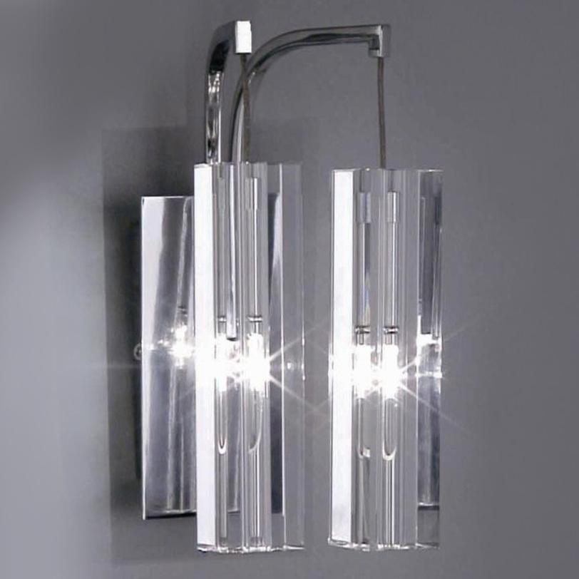 Настенный светильник SOPLEБра<br>Настенный светильник из коллекции Sople на хромированной арматуре. Плафоны выполнены из прозрачного фактурного стекла.<br><br>Количество лампочек: 2<br>Мощность: 2x 20 Вт<br>Тип лампы: ГАЛОГЕННАЯ, G4<br><br>Material: Стекло<br>Length см: 20<br>Width см: 20<br>Depth см: None<br>Height см: 12<br>Diameter см: None