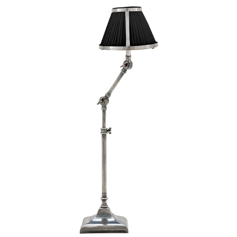 Настольная лампа Lamp Table BrunswickДекоративные лампы<br>Основание светильника из металла, цвет - потускневшее серебро.<br>Цвет абажура: черный, бежевый.<br>Количество лампочек: 1<br>Мощность: 1 x 40 Вт<br>Цоколь: E27<br><br>Material: Металл<br>Length см: None<br>Width см: None<br>Depth см: None<br>Height см: 70<br>Diameter см: None