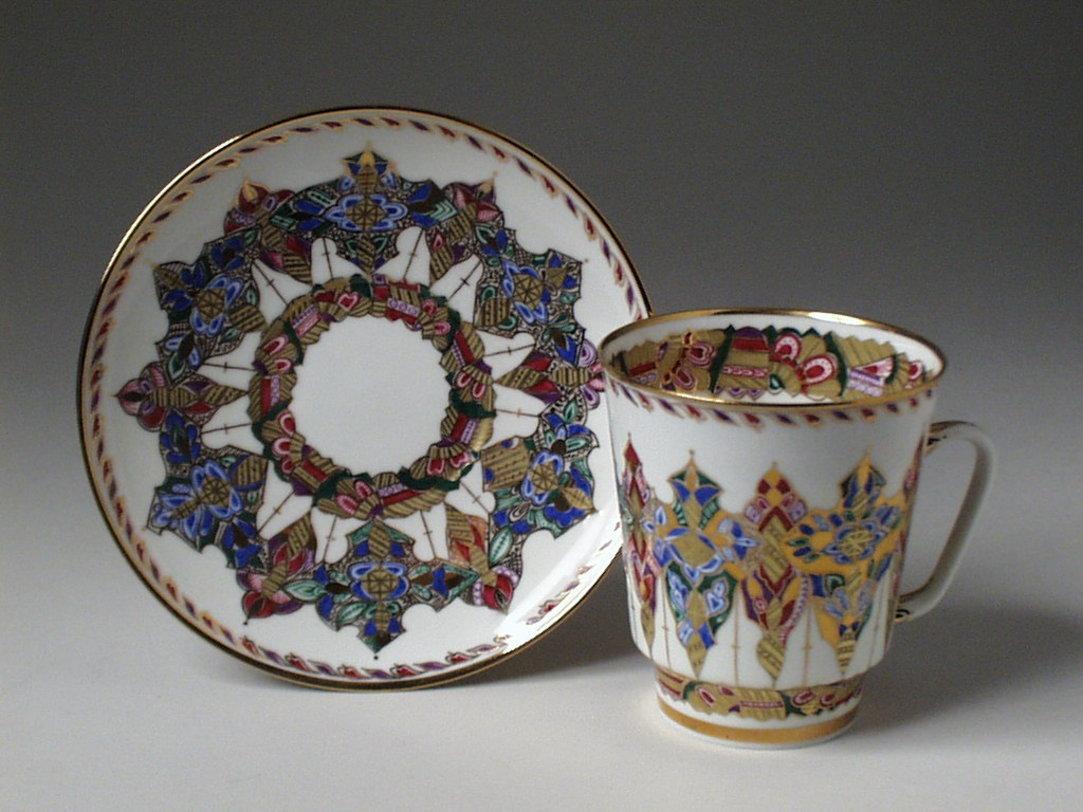 """Чайная Чашка с блюдцем """"Арабески"""" Майская от The Furnish"""