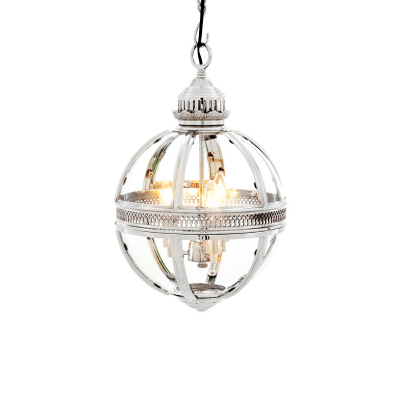 Подвесной светильник Lantern ResidentialПодвесные светильники<br>Подвесной светильник из металла и стекла. Цвет металла - никель. Высота подвеса регулируется.<br>Мощность: 3 x 40 Вт<br>Цоколь: E14<br><br>Material: Металл<br>Length см: 30<br>Width см: 30<br>Depth см: None<br>Height см: 50<br>Diameter см: None