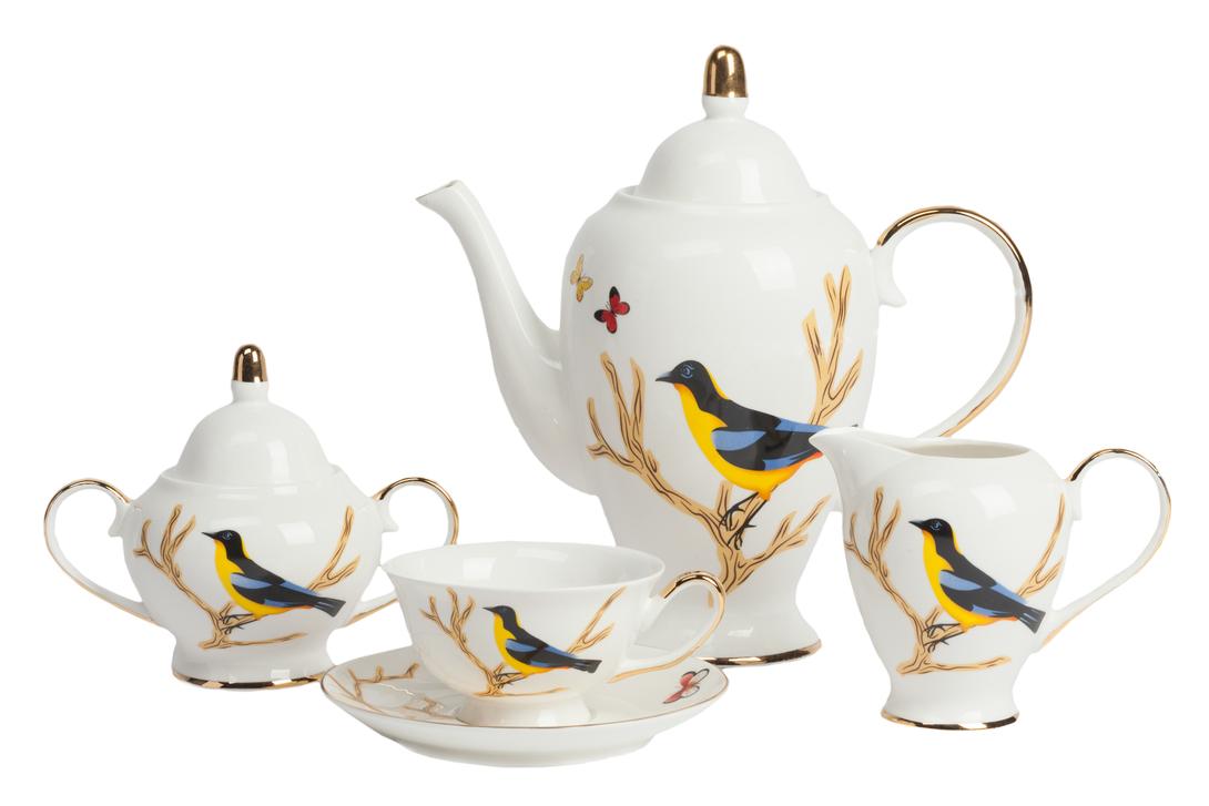 Чайный сервиз TimouseЧайные сервизы<br>Материал: Костяной фарфор<br>Цвет: Белый, желтый, синий<br><br>Material: Фарфор<br>Ширина см: 30<br>Высота см: 18