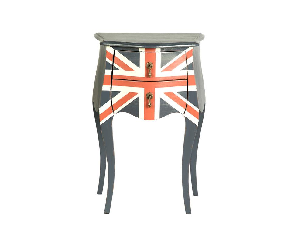 ТумбаИнтерьерные тумбы<br>Цвет: темно-синий, с изображением британского флага<br><br>Material: Красное дерево<br>Length см: 45<br>Width см: 30<br>Depth см: None<br>Height см: 70<br>Diameter см: None