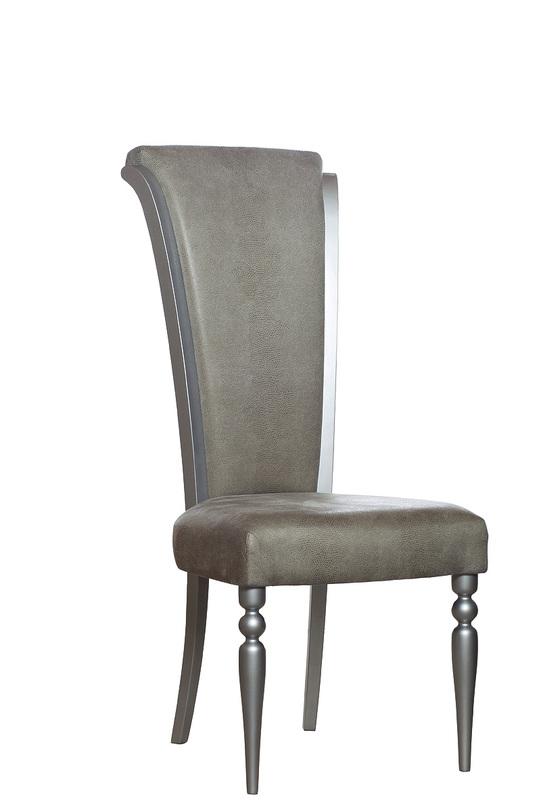 СтулОбеденные стулья<br>имитация рептилии<br>Цвет:<br>сиденье - оливковое<br>ножки - серебряные<br><br>Material: Кожа<br>Length см: 49<br>Width см: 51<br>Depth см: None<br>Height см: 116<br>Diameter см: None