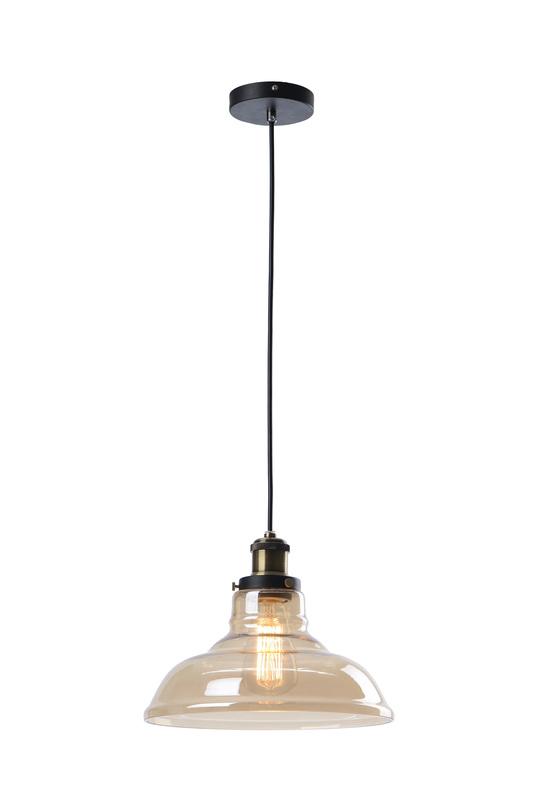 Подвесной светильникПодвесные светильники<br>Металлическое основание, стеклянный прозрачный плафон<br>Цвет стекла коричневый, цвет основания черный, цвет патрона - состаренная бронза<br>Высота подвеса: 150 см,<br>Патрон Е27, мощность 1 х 60W<br><br>Material: Стекло<br>Length см: None<br>Width см: None<br>Depth см: None<br>Height см: 21<br>Diameter см: 27