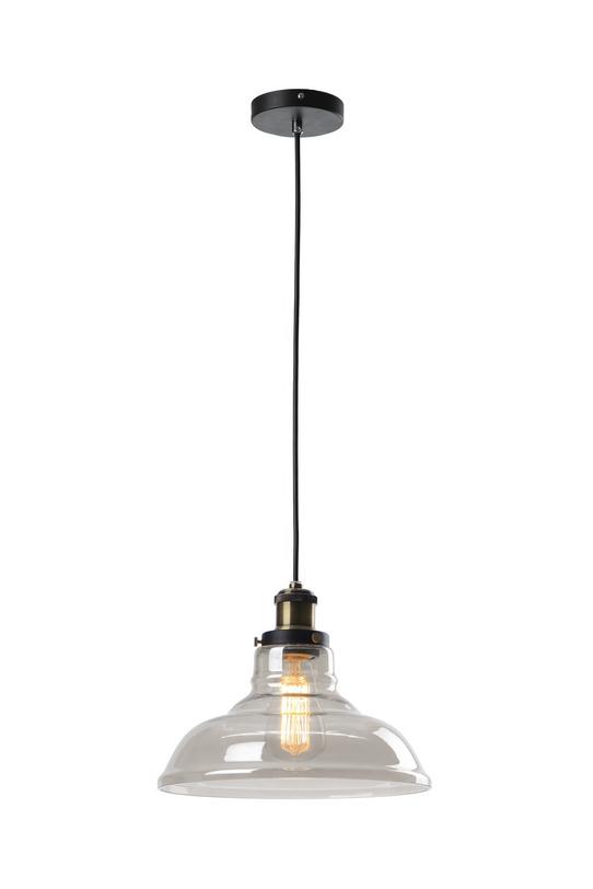 Подвесной светильникПодвесные светильники<br>Металлическое основание, стеклянный прозрачный плафон.<br>Цвет основания черный, цвет патрона состаренная бронза<br>Высота патрона 150 см<br>Патрон Е27, мощность 1 х 60W<br><br>Material: Стекло<br>Length см: None<br>Width см: None<br>Depth см: None<br>Height см: 21<br>Diameter см: 27