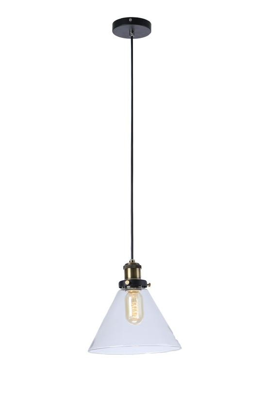Подвесной светильникПодвесные светильники<br>Металлическое основание, декоративный стеклянный плафон, мягкий подвес-провод черного цвета, цвет стекла прозрачный<br>длина подвеса 150 см<br>Патрон E27, мощность max 1 х 60W<br><br>Material: Стекло<br>Length см: None<br>Width см: None<br>Depth см: None<br>Height см: 23<br>Diameter см: 23