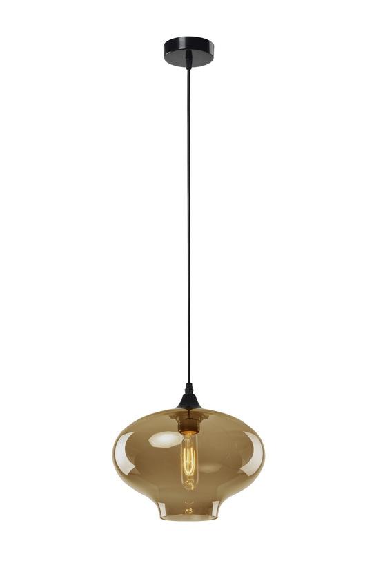 Подвесной светильникПодвесные светильники<br>Металлическое основание, декоративный стеклянный плафон, мягкий подвес-провод черного цвета<br>Цвет стекла прозрачный коричневый<br>длина подвеса 150 см<br>Патрон E27, мощность max 1 х 60W<br><br>Material: Стекло<br>Length см: None<br>Width см: None<br>Depth см: None<br>Height см: 24<br>Diameter см: 28