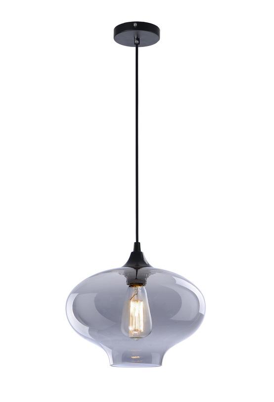 Подвесной светильникПодвесные светильники<br>Металлическое основание, декоративный стеклянный плафон, мягкий подвес-провод черного цвета<br>Цвет стекла прозрачный серый<br>длина подвеса 150 см<br>Патрон E27, мощность max 1 х 60W<br><br>Material: Стекло<br>Length см: None<br>Width см: None<br>Depth см: None<br>Height см: 24<br>Diameter см: 28