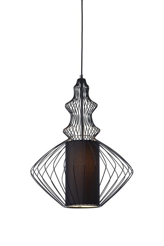 Подвесной светильникПодвесные светильники<br>Металлическое основание в восточном стиле, в центре тканевый плафон черного цвета, цвет металла - черный.<br>Высота (max) 180 см.<br>Патрон E27, мощность max 1 х 9W (рекомендуется использование энергосберегающей лампы или LED)<br><br>Material: Металл<br>Length см: None<br>Width см: None<br>Depth см: None<br>Height см: 50<br>Diameter см: 37