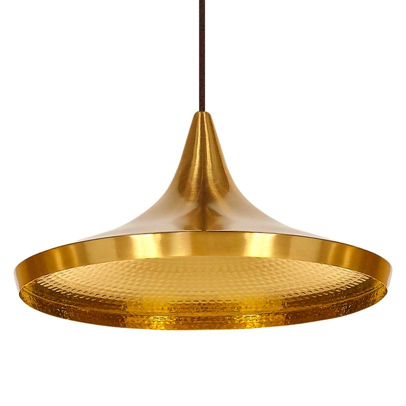 Подвесной светильникПодвесные светильники<br>Один металлический плафон, внутренняя поверхность плафона золотого цвета и оформлена декоративной чеканкой, металлическое основание выполнено в форме конуса<br>Цвет плафона - золото<br>Длина крепежной пластины 10,5 см, D основания 12 см<br>Патрон E14, мощность max 1 х 40W<br><br>Material: Металл<br>Length см: None<br>Width см: None<br>Depth см: None<br>Height см: 16<br>Diameter см: 36