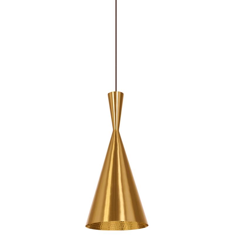 Подвесной светильникПодвесные светильники<br>Один металлический плафон, внутренняя поверхность плафона золотого цвета и оформлена декоративной чеканкой, металлическое основание в форме конуса<br>Цвет плафона золото<br>Патрон E14, мощность max 1 х 40W<br><br>Material: Металл<br>Высота см: 37